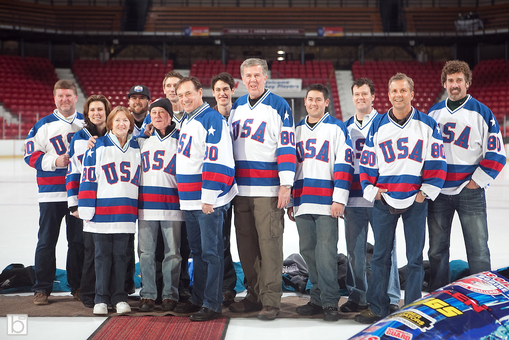 Bodine Bobsled Challenge event organizers present the participants replica 1980 Olympic Hockey Team jerseys during a ceremony in the 1980 Rink Herb Brooks Arena in Lake Placid, N.Y. Friday, Jan 8, 2010.