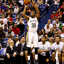 Mar 3, 2016; New Orleans, LA, USA; New Orleans Pelicans guard Norris Cole (30) against San Antonio Spurs during the second quarter of a game at the Smoothie King Center. Mandatory Credit: Derick E. Hingle-USA TODAY Sports