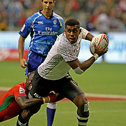 Kalione Nasoko demonstrated great teamwork by passing off to Sevuloni Mocenacagi for a Try in Fiji's 31-12 Cup Final victory over Kenya at the Canada 7's, Day 2, BC Place, Vancouver, British Columbia, Canada.  Photo by Barry Markowitz, 3/11/18, 3pm