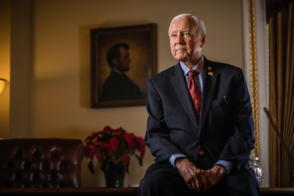 WASHINGTON, DC -- 12/21/17 -- Sen. Hatch in the Senate pro tem office with an original portrait of President Lincoln on the wall. This is the same painting that Lincoln actually sat for and is the basis for the penny. Senator Orrin Hatch is the senior senator from Utah, Chairman of the Senate Finance Committee and President pro tempore of the United States Senate..…by André Chung #_AC17990