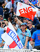 England fans with flags during the ICC Cricket World Cup 2019 semi final match between Australia and England at Edgbaston, Birmingham, United Kingdom on 11 July 2019.
