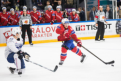 Jordann Perret of France vs Mathis Olimb of Norway during the 2017 IIHF Men's World Championship group B Ice hockey match between National Teams of Norway and France, on May 6, 2017 in Accorhotels Arena in Paris, France. Photo by Vid Ponikvar / Sportida