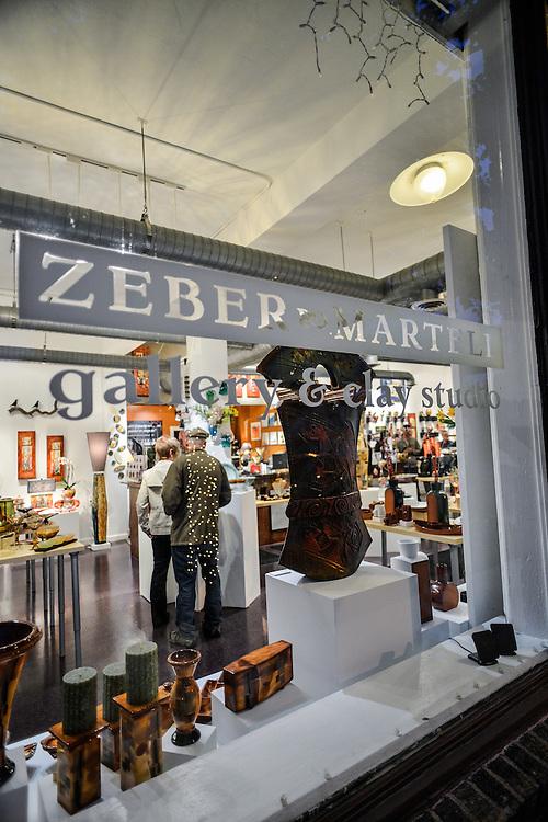 Front window of Zeber-Martell Clay Studio and Art Gallery.