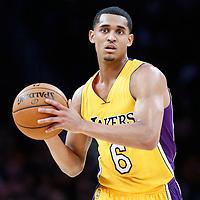 05 December 2016: Los Angeles Lakers guard Jordan Clarkson (6) passes the ball during the Utah Jazz 107-101 victory over the Los Angeles Lakers, at the Staples Center, Los Angeles, California, USA.