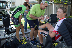 Pre-race preparations at Cylance Pro Cycling before the start of the 97,1 km second stage of the 2016 Ladies' Tour of Norway women's road cycling race on August 13, 2016 between Mysen and Sarpsborg, Norway. (Photo by Balint Hamvas/Velofocus)