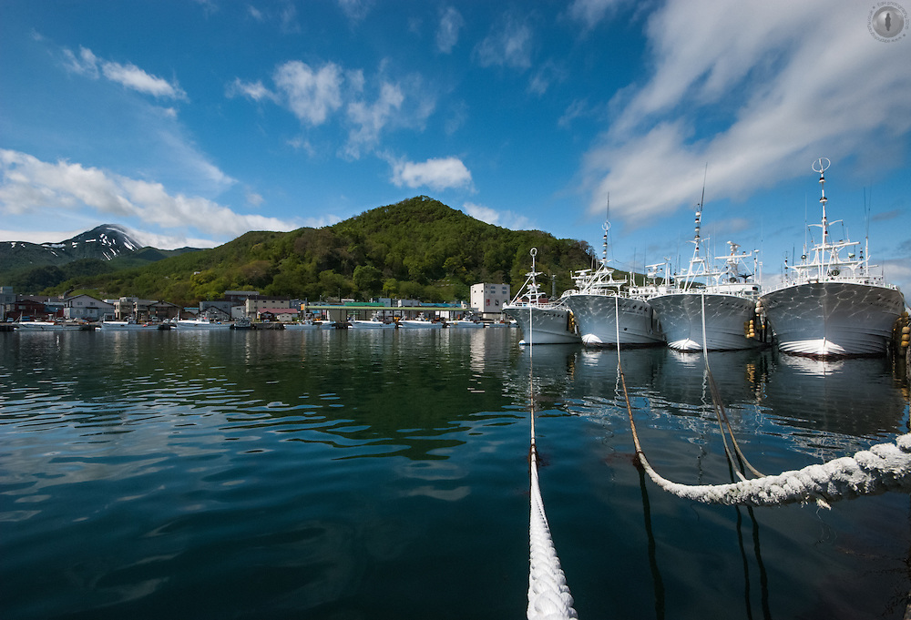 Wideangle of Rausu port in Shiretoko, Hokkaido taken from a low perspective.