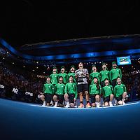 Roger Federer of Switzerland and ball kids after the men's final on day fourteen of the 2017 Australian Open at Melbourne Park on January 29, 2017 in Melbourne, Australia.<br /> (Ben Solomon/Tennis Australia)