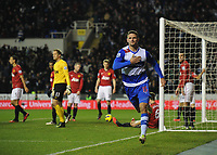 Football - Barclays Premier League - Reading vs. Manchester United<br /> Sean Morrison of Reading celebrates scoring their third goal to take the score to 3-2 in the first half at the Madejski Stadium, Reading