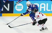 Sacha Treille / Denis Hollenstein - 03.05.2015 - France / Suisse - Championnat du Monde de Hockey sur Glace -Prague <br />Photo : Xavier Laine / Icon Sport