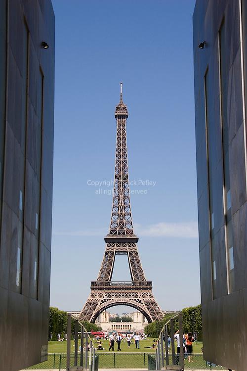 Art installation on the Parc du Champ de Mars at Place Joffre and the Tour Eiffel, Paris France<br />
