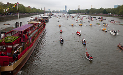 © Licensed to London News Pictures. 03/06/2012. .London, England. .Royal Barge Gloriana at The Thames river pageant. The Royal Jubilee celebrations. Great Britain is celebrating the 60th  anniversary of the countries Monarch HRH Queen Elizabeth II accession to the throne this weekend Photo credit : LNP