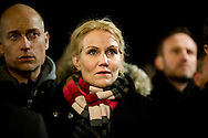 16.02.2015. Copenhagen, Denmark.<br /> Prime Minister Helle Thorning-Schmidt attended a memorial rally for the victims and those injured in the attacks respectively Krudtt&oslash;nden and synagogue in Copenhagen.<br /> Photo: &copy; Ricardo Ramirez