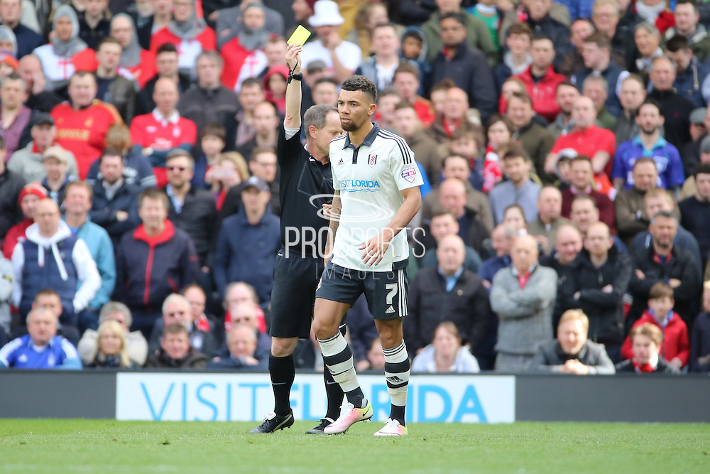 Fulham defender Ryan Fredericks (07) yellow card during the Sky Bet Championship match between Fulham and Nottingham Forest at Craven Cottage, London, England on 23 April 2016. Photo by Matthew Redman.