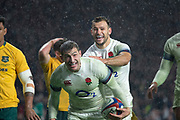 Twickenham, Surrey. UK. Danny CARE, congratulates Jonny MAY on his try during the <br /> England VS Australia, Autumn International. Old Mutual Wealth Series. RFU Stadium, Twickenham. UK<br /> <br /> Saturday  18.11.17<br /> <br /> [Mandatory Credit Peter SPURRIER/Intersport Images]