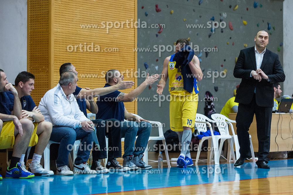 Keselj Igor head coach of KK Sencur GGD and players during basketball match between KK Sencur  GGD and KK Tajfun Sentjur for Spar cup 2016, on 16th of February , 2016 in Sencur, Sencur Sports hall, Slovenia. Photo by Grega Valancic / Sportida.com