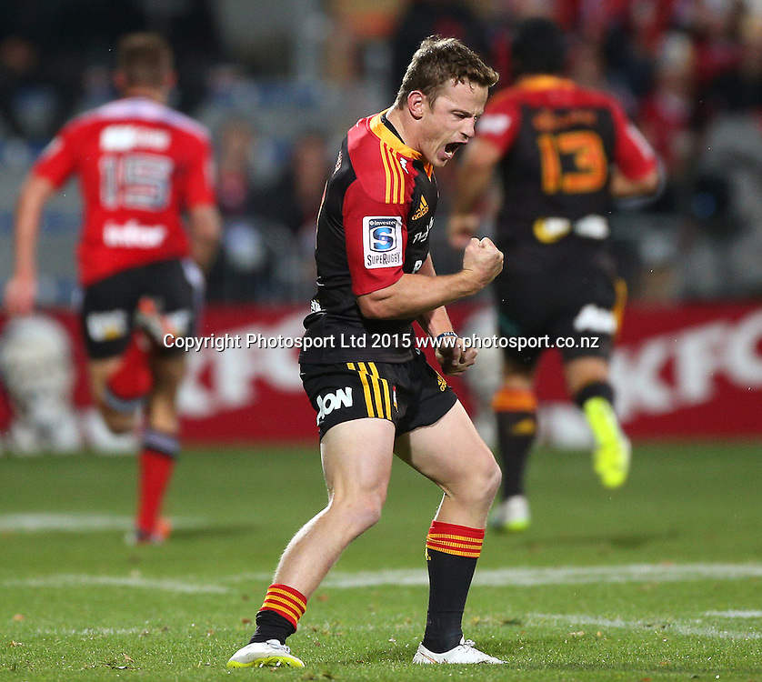 Brad Weber of the Chiefs celebrates the try just on half time during the Investec Super Rugby game between the Crusaders v Chiefs at AMI Stadium i Christchurch. 17 April 2015 Photo: Joseph Johnson/www.photosport.co.nz