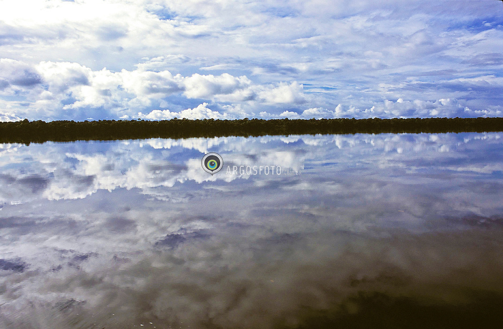Uapes River, tributary of Black River on Amazon, Brazil / Rio Uapes, afluente do Rio Negro, na Amazonia com nuvens refletidas