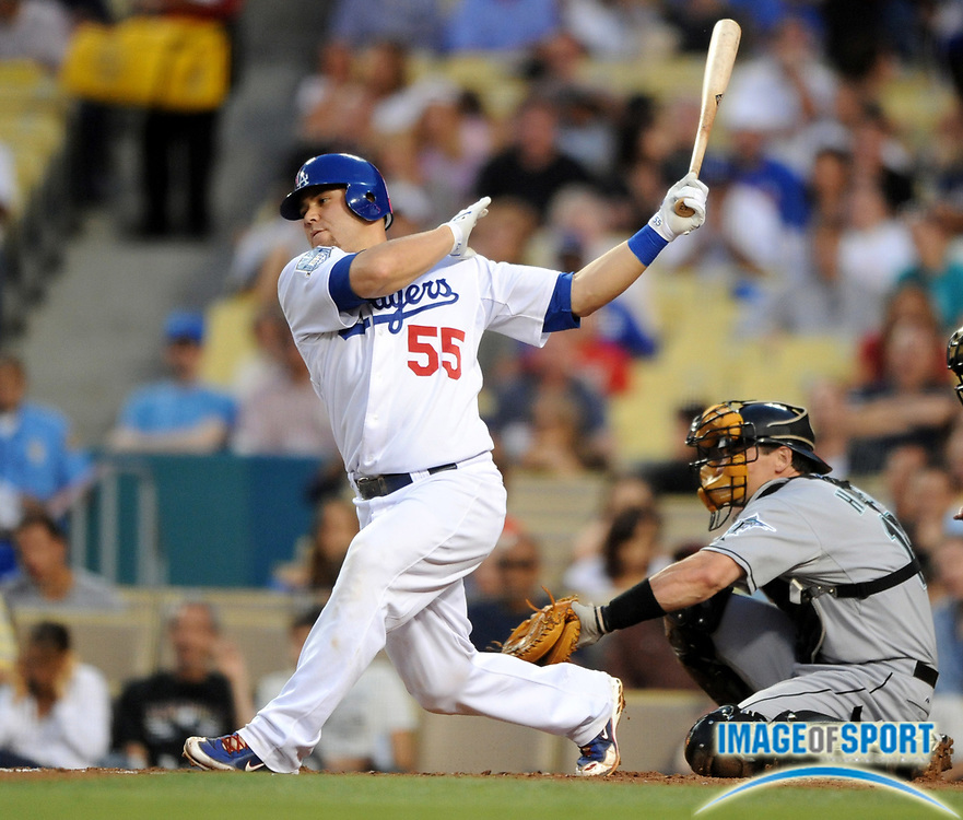Jul 11, 2008; Los Angeles, CA, USA; Los Angeles Dodgers catcher Russell Martin (55) bats during game against the Florida Marlins at Dodger Stadium.