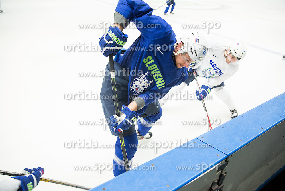 Jan Urbas and Bostjan Golicic during practice session of Slovenian National Ice Hockey Team 1 day prior to the 2015 IIHF World Championship in Czech Republic, on April 30, 2015 in Practice arena Ostrava, Czech Republic. Photo by Vid Ponikvar / Sportida