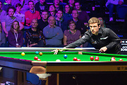 Action from the World Snooker 19.com Scottish Open Final Mark Selby vs Jack Lisowski at the Emirates Arena, Glasgow, Scotland on 15 December 2019.<br /> <br /> Jack Lisowski plays an amazing trick shot and gets out of the snooker.