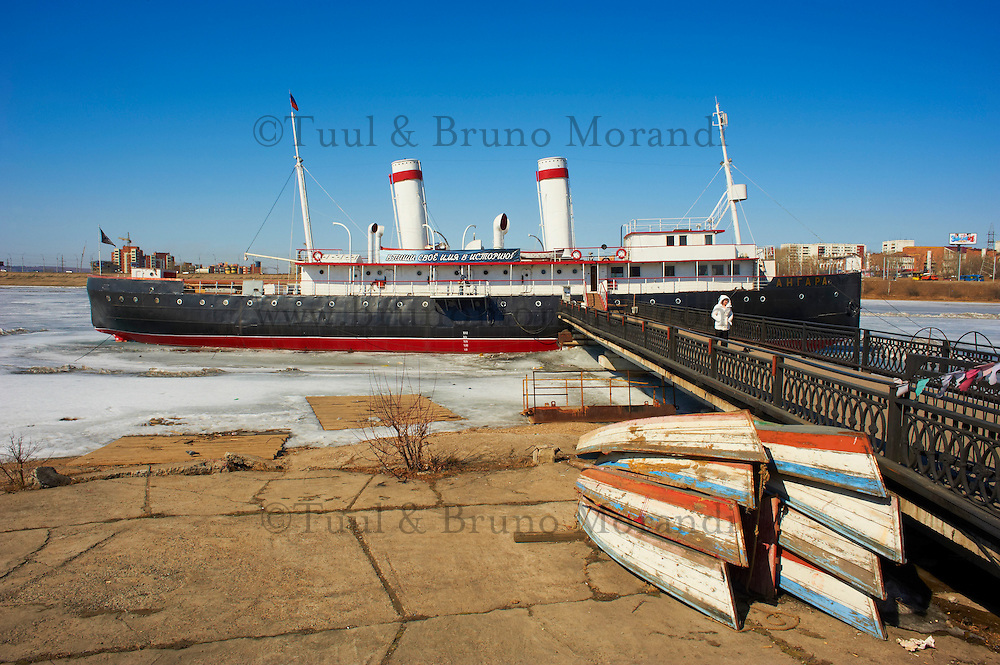 Russie, Siberie, Fédération de Irkoutsk, Irkoutsk, le bateau à vapeur Angara transformé en musée // Russia, Siberia, Irkutsk, old steam boat Angara