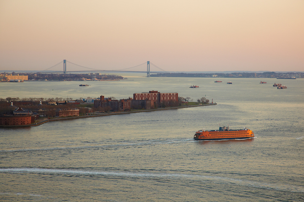 View of Governors Island and the Verrazano Bridge from 10 West Street, 29th floor