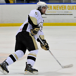 WHITBY, ON - Oct 21: Ontario Junior Hockey League game between Trenton Golden Hawks and Whitby Fury. Robbie Hall #51 of the Trenton Golden Hawks during first period game action..(Photo by Shawn Muir / OJHL Images)