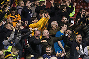 Hull City fans celebrating their victory during the EFL Sky Bet Championship match between Nottingham Forest and Hull City at the City Ground, Nottingham, England on 23 October 2019.