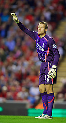 LIVERPOOL, ENGLAND - Tuesday, August 27, 2013: Liverpool's goalkeeper Simon Mignolet in action against Notts County during the Football League Cup 2nd Round match at Anfield. (Pic by David Rawcliffe/Propaganda)