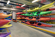 Kayaks in the Hoofer area of Memorial Union. Kayaks are available for rental through Outdoor UW. This space was renovated and reopened in 2014.