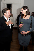 NINA MIALL; GREGOR MUIR, MCA- Sydney cocktails. Brandon rooms. ICA. London. 11 October 2011. <br /> <br />  , -DO NOT ARCHIVE-© Copyright Photograph by Dafydd Jones. 248 Clapham Rd. London SW9 0PZ. Tel 0207 820 0771. www.dafjones.com.
