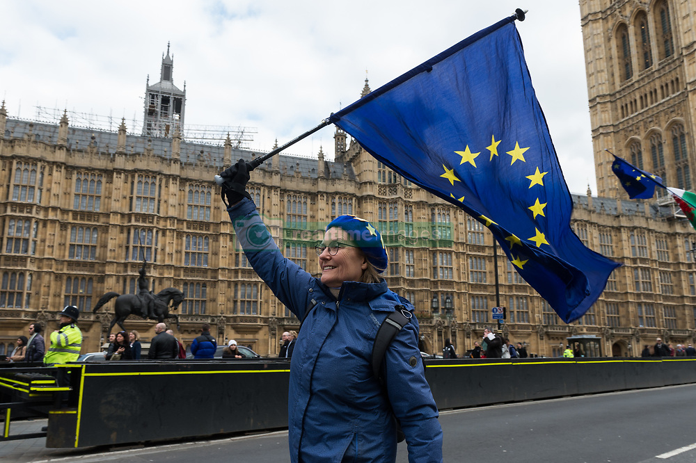 March 27, 2019 - London, Greater London, United Kingdom - Pro-EU supporters protest outside the Houses of Parliament in London on 27 March, 2019. Today, MPs held a series of indicative votes on alternative Brexit plans following a government defeat in the Commons as parliamentarians took control of the order paper. (Credit Image: © Wiktor Szymanowicz/NurPhoto via ZUMA Press)