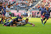 Facundo Isa (Rugby Club Toulonnais) scored the try for victory, Marvin O Connor (Stade Francais Paris), Morne Steyn (Stade Francais) during the French championship Top 14 rugby union match between Stade Francais Paris and RC Toulon on September 24, 2017 at Jean Bouin stadium in Paris, France - Photo Stephane Allaman / ProSportsImages / DPPI