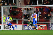 Bristol City goalkeeper Frank Fielding goes the wrong way as Blackburn Rovers midfielder Ben Marshall makes it 2-0 from the spot during the Sky Bet Championship match between Bristol City and Blackburn Rovers at Ashton Gate, Bristol, England on 5 December 2015. Photo by Jemma Phillips.