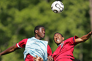 17 May 2006: Forward Eddie Johnson (left) and defender Cory Gibbs (right). The United States' Men's National Team trained at SAS Soccer Park in Cary, NC, in preparation for the 2006 World Cup tournament to be played in Germany from June 9 through July 9, 2006.