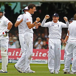 16/08/2012 London, England. England celebrate the wicket of South Africa's Jacques Kallis on umpires review during the third Investec cricket international test match between England and South Africa, played at the Lords Cricket Ground: Mandatory credit: Mitchell Gunn
