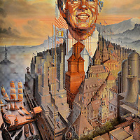 Jimmy Carter Portrait by Octavio Ocampo at President Carter Library in Atlanta, Georgia<br />