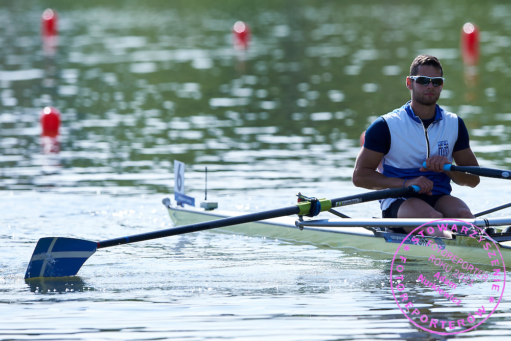 Magdanis Panagiotis from Greece competes Lightweight Men&rsquo;s Single Sculls (LM1x) during first day the 2015 European Rowing Championships on Malta Lake on May 29, 2015 in Poznan, Poland<br /> Poland, Poznan, May 29, 2015<br /> <br /> Picture also available in RAW (NEF) or TIFF format on special request.<br /> <br /> For editorial use only. Any commercial or promotional use requires permission.<br /> <br /> Mandatory credit:<br /> Photo by &copy; Adam Nurkiewicz / Mediasport