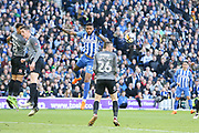 Brighton and Hove Albion striker Jurgen Locadia (25) heads the ball during the The FA Cup match between Brighton and Hove Albion and Coventry City at the American Express Community Stadium, Brighton and Hove, England on 17 February 2018. Picture by Phil Duncan.