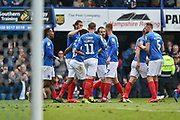 Portsmouth Players Celebrate after Portsmouth Forward, Brett Pitman (8) scores a penalty during the EFL Sky Bet League 1 match between Portsmouth and Rochdale at Fratton Park, Portsmouth, England on 13 April 2019.