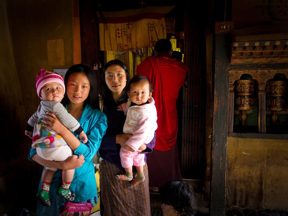 Asia, Bhutan, Changangkha Lhakhang, child, children, mother, son, Thimpu, woman, women
