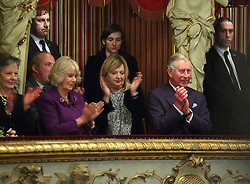 14.03.2016, Zagreb, CRO, der Britische Kronprinz Charles und seine Frau Camilla besuchen Kroatien, im Bild British Crown Prince Charles and his wife Camilla, the Duchess of Cornwall, are visiting Croatia as part of a regional tour that will include Serbia, Montenegro and Kosovo. They visited the Croatian National Theatre and participated in a programme to commemorate the 400th anniversary of the death of William Shakespeare. Dubravka Vrgoc theater manager of the Croatian National Theatre. EXPA Pictures © 2016, PhotoCredit: EXPA/ Pixsell/ Jurica Galoic<br /> <br /> *****ATTENTION - for AUT, SLO, SUI, SWE, ITA, FRA only*****