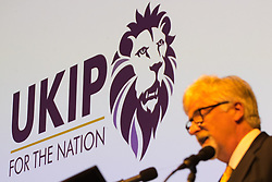 © Licensed to London News Pictures . 29/09/2017 . Torquay , UK . Interim Leader STEVE CROWTHER unviels one of two new logos for the party , featuring a lion , which some have said is very similar to the Premier League's logo . UKIP is due to announce the winner of a leadership election which has the potential to split the party . Photo credit: Joel Goodman/LNP