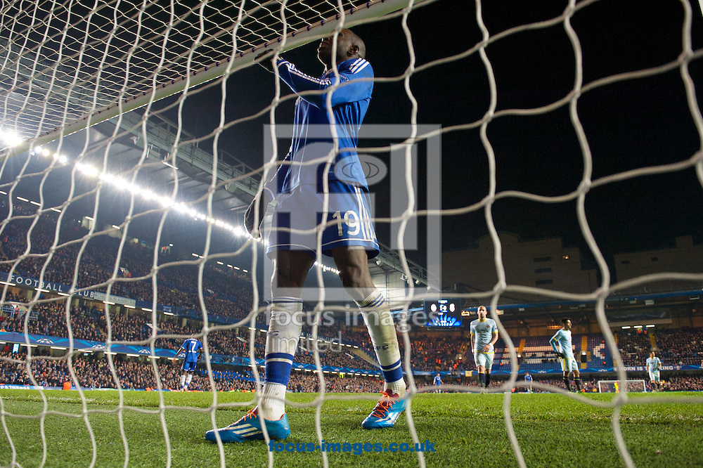 Picture by Alan Stanford/Focus Images Ltd +44 7915 056117<br /> 11/12/2013<br /> Demba Ba of Chelsea has a close miss during the UEFA Champions League match at Stamford Bridge, London.
