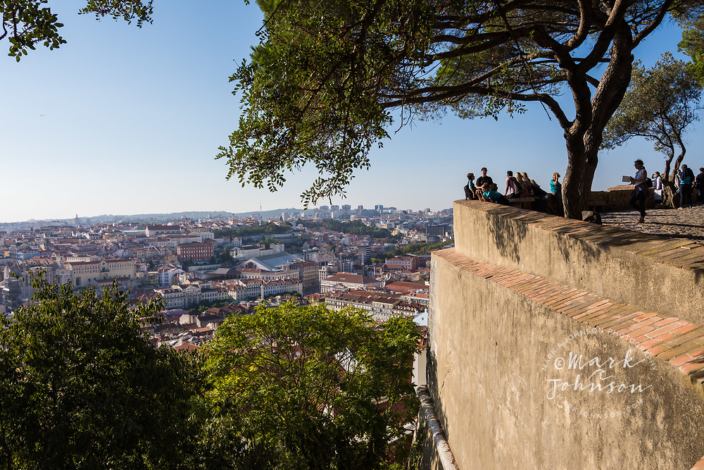 Visitors and a viewpoint of Lisbon City from the Castelo de Sao Jorge, Lisbon, Portugal