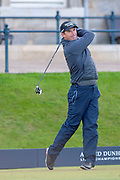 Padraig Harrington on the first tee at the Alfred Dunhill Links Championships 2018 at St Andrews, West Sands, Scotland on 6 October 2018.