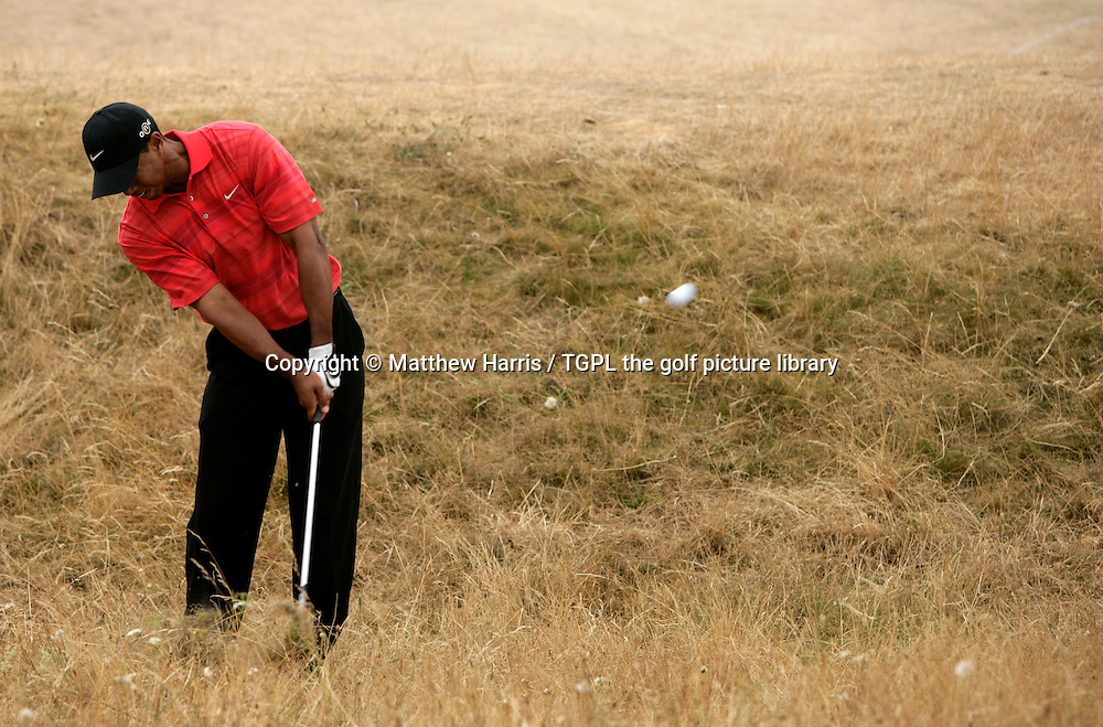 Tiger WOODS (USA) plays his 2nd shot from the rough at 11th par 4 during fourth round The Open Championship 2006,Royal Liverpool,Hoylake,Wirral,England.