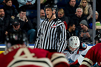 KELOWNA, BC - FEBRUARY 15: Line official Jade Portwood calls to players lining up for the face-off at the Kelowna Rockets against the Red Deer Rebels at Prospera Place on February 15, 2020 in Kelowna, Canada. (Photo by Marissa Baecker/Shoot the Breeze)