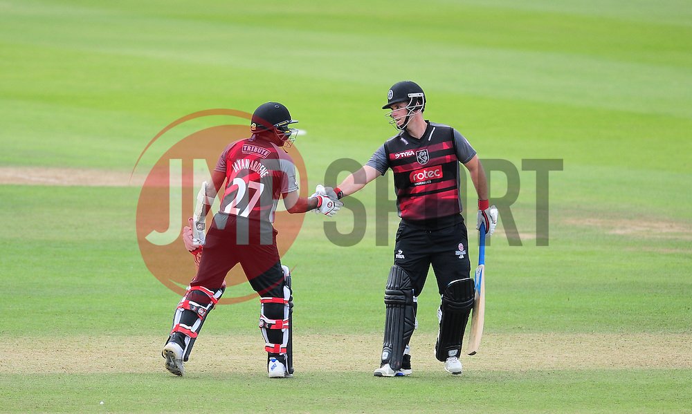 Mahela Jayawardene and Jim Allenby of Somerset look on.  - Mandatory by-line: Alex Davidson/JMP - 17/08/2016 - CRICKET - Cooper Associates County Ground - Taunton, United Kingdom - Somerset v Worcestershire Rapids - Royal London One Day Cup Quarter Final