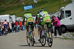 Vincenzo Nibali, Dominik Nerz & Dries Devenyns on the top of the Col de la Joux Plane during stage 6 of the Criterium du Dauphine. Photo by Simon Parker/SPactionimages